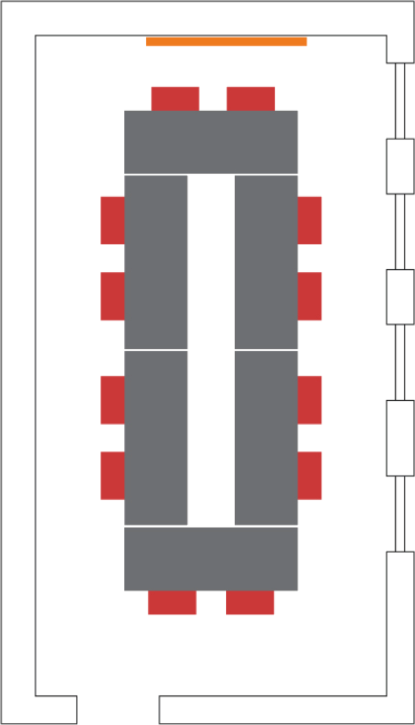 Example boardroom style setup showing seating for 12.