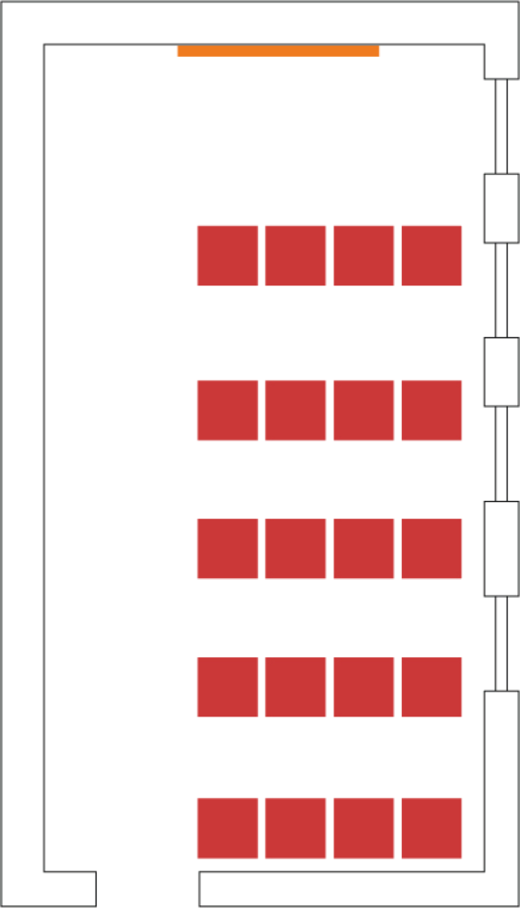 Example theatre style setup showing seating for 20.