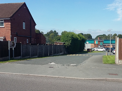 A Photo of the entrance to the car park at Rugeley Community Centre