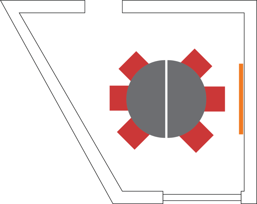 Example setup showing seating for 6 with a table.