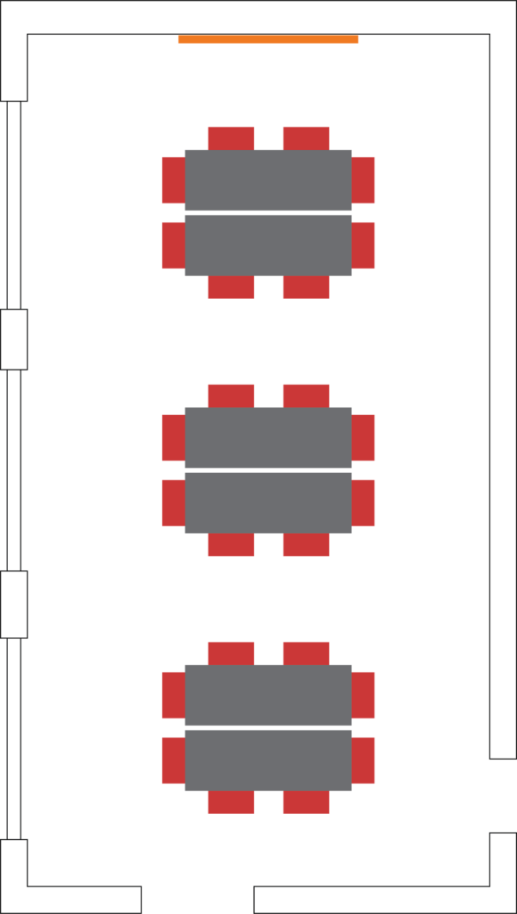 Example setup showing seating for 24 around 3 tables.
