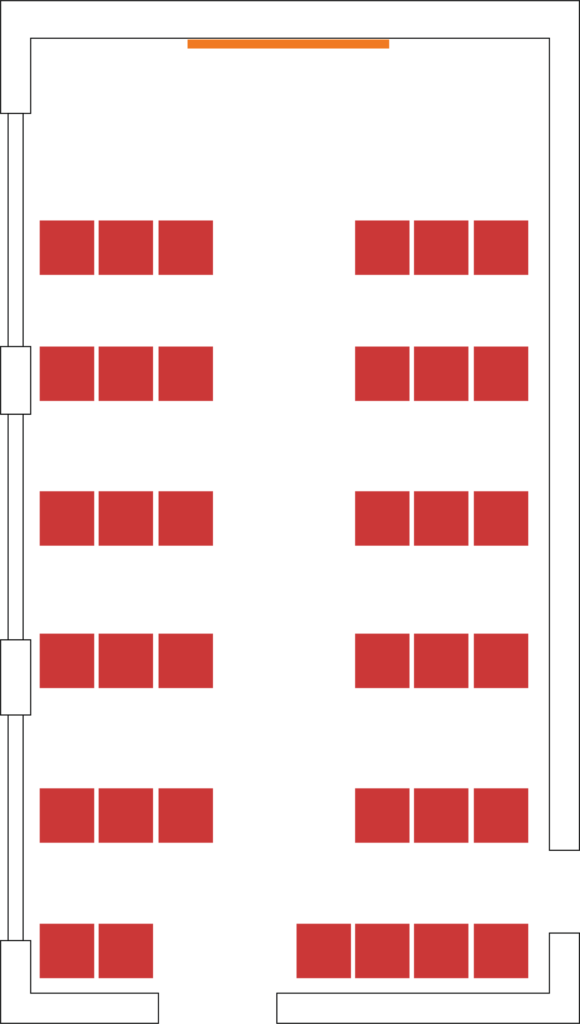 Example theatre style setup showing seating for 36.